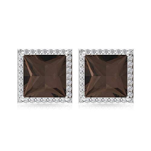 2,8 Karat Rauchquarz Solitär-Ohrring, Prinzessschliff Edelstein Ohrstecker, IGI zertifizierter Diamant Statement Ohrring, IJ-SI Diamant Braut-Ohrring, 18K Weißes Gold, Paar