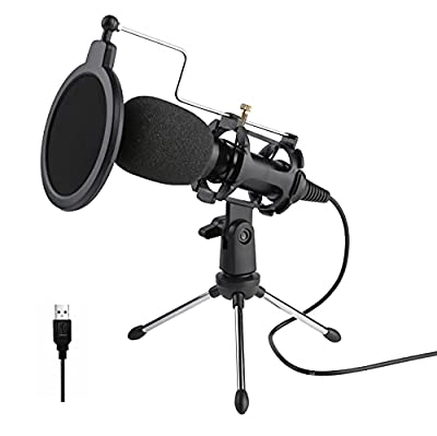 Tdbest USB Microphone Kit microphone for laptop/pc 3.5mm Streaming Podcast PC Microphone Condenser microphone Professional Sound Chipset for Skype Youtube,Gaming Recording,Voice Over