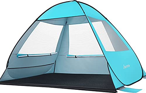 MOVTOTOP Beach Tent 【2021 Newest】, Large Pop up Beach Tent with Extended Mat for 4 People, Anti-UV Automatic Beach Tent Sun Shelter Instant Portable, Full Ventilation Sun Shade Shelter for Beach