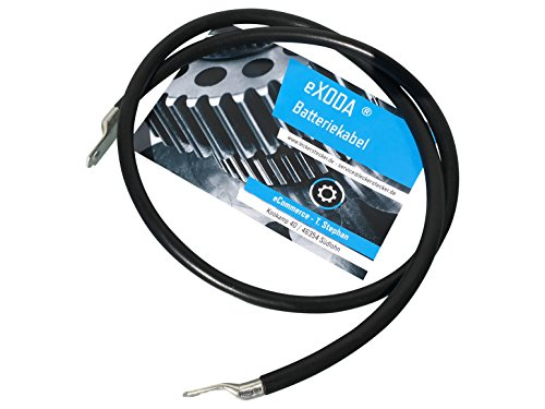 eXODA Batteriekabel 70 mm² 100cm Kupfer Stromkabel mit Ringösen M10 schwarz 12V KFZ