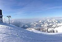 HD10x7ft写真の背景雪に覆われた山の丘の上のスキー冬の雪景色アルプススキーメリークリスマス休暇旅行明けましておめでとうございますビニールバナー写真ブース背景壁紙