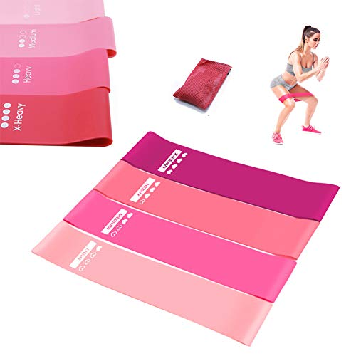4 pcs Resistance Band Exercise Bands Fitness Gym Elastic Workout Resistance Loop Set for Fitness Strength Training(Pink)