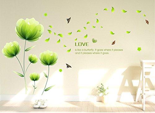 Ufengke® Schön Grün Blumen Wandabziehbilder,Wohnzimmer Schlafzimmer Entfernbare Wandtattoos Wandbilder
