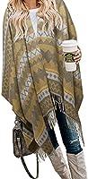Bestshe Women's Stylish Open Front Knitted Poncho Boho Plaid Shawl Wrap Cape Cardigan Sweater