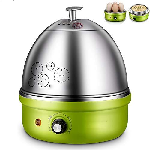 Eierkocher, Voll-Edelstahl-Elektro-Ei-Kocher mit Auto-Abschaltung bis zu 7 Eiern, für Soft, Medium, Hard Boiled, pochiert, Custard,Grün