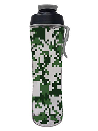 50 Strong Reusable BPA-Free Water Bottle with Leakproof Cap & Easy Carry Strap for Kids, 24 Ounces, Digital Camo