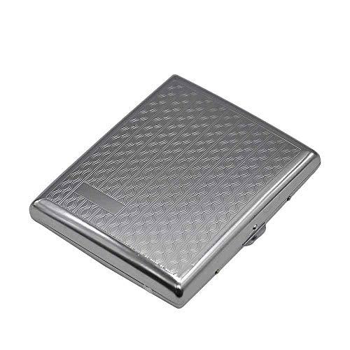 Cigarette Tin Cigarette Case For Roll Ups Cigarette Box 1Pc Metal Cigarette Case (103 * 85Mm) Holding 18 Regular Size Cigarettes (85Mm*8Mm) Tobacco Case Box With 2 Clips-Khaki