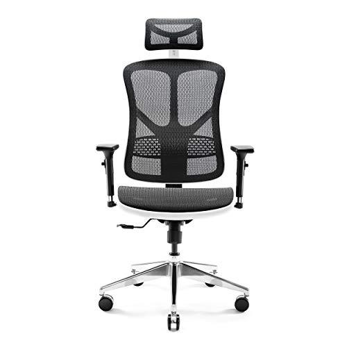 Diablo V-Basic Bürostuhl Chefsessel Netzstoff verstellbare Armlehnen höhenverstellbar ergonomisch Farbwahl (weiß/schwarz)