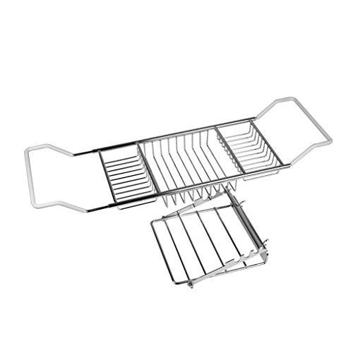 Ponts de baignoire Baignoire en Acier Inoxydable Baignoire Support Support rétractable Plateau de Salle de Bains en Bois for Mobile ou des Fentes Tablet (Color : Silver, Size : 103cm*20cm*4cm)