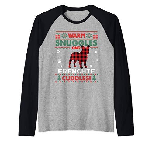 French Bulldog Christmas Pajama Shirt Ugly Christmas Sweater Raglan Baseball Tee