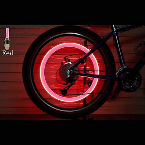 2PCS Bicycle LED Light Tire Valve Cap Bicycle Flash Light Mountain Road Bike Cycling Tyre Wheel Lights LED Neon Lamp Cover Wheel (Color : Red)