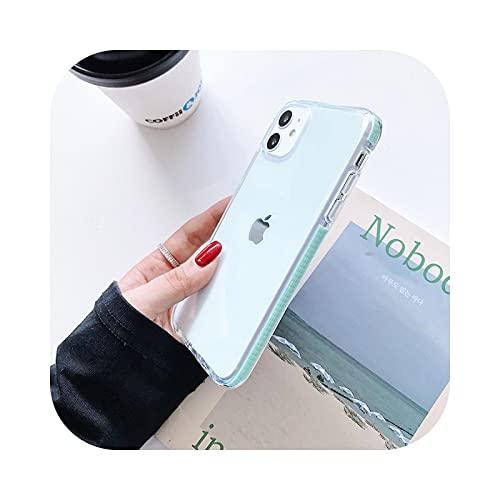 Lujo Caramelo Transparente Caja Del Teléfono Para iPhone 11 12 Pro Max XS X XR 7 8 6 6S Plus SE Silicona Suave A Prueba De Golpes Cubierta-Verde Claro - Para iPhone 7