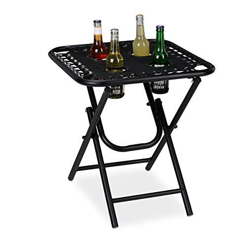 Relaxdays Campingtisch mit Getränkehalter, klappbar, leicht, Outdoor, Metall & Polyester, 53x50x50cm, Falttisch, schwarz
