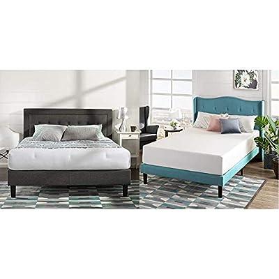 Zinus Dachelle Upholstered Tufted Premium Platform Bed, Queen, Dark Grey with Zinus Green Tea 12-inch Memory Foam Mattress, Queen
