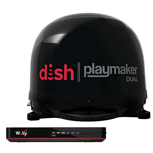 Winegard PL8035R Dish Playmaker Dual Portable Automatic Satellite Antenna with Dish Wally HD Receiver Black