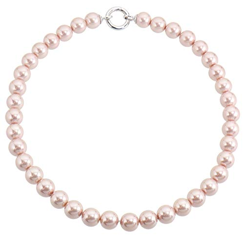Merii Damen-Collier 925 Sterling Silber rhodiniert Synthetische Perle rosa M0383N/90/C8/42