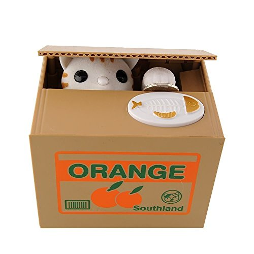 UNTIL YOU】Cute Stealing Coins Cents Penny Cat Money Box Saving Money Collecting Money Piggy Bank for Kids Kids (Cute Orange Cat)