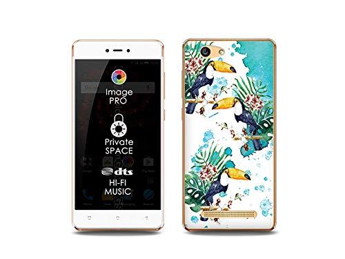 etuo Handyhülle für Allview X3 Soul Lite - Hülle, Silikon, Gummi Schutzhülle Fantastic Case - Tukans mit Blumen