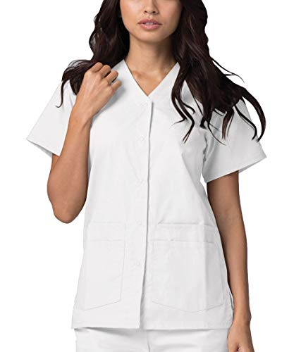 Adar Universal Divise Sanitarie Donna - Chiusura a Scatto Frontale - 604 - White - XS