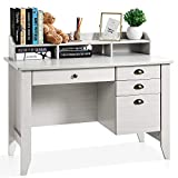 Computer Desk with 4 Drawers and Hutch Shelf, Executive Desk Home Office Desk Writing Sturdy PC Laptop Notebook Desk, Spacious Desktop Vintage Style White