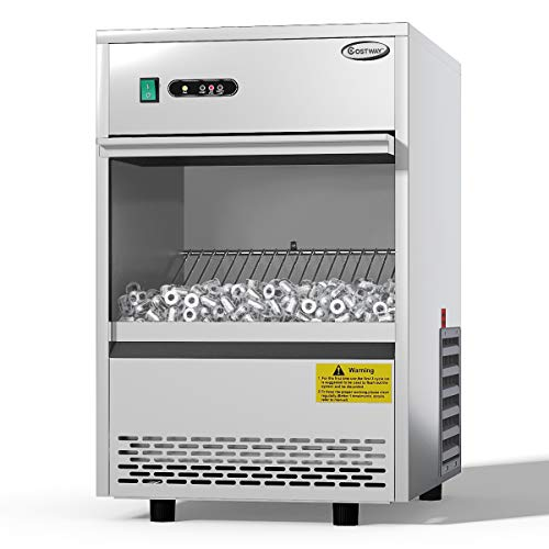 COSTWAY Commercial Ice Maker, 70LBS/24h Freestanding Portable Stainless Steel Ice Maker Machine Under Counter Ice Machine for Restaurants Bars (70LBS/24h)