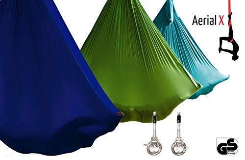 Aerial Yogatuch Set für Yoga Fitness Pilates Wellness - geprüfte Sicherheit aus Deutschland Schaukel-Tuch - Elfenbein