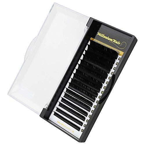 MilleniumHair Silk Lashes - Seidenwimpern - D-Curl - 0,20 mm Stärke - Wimpernverlängerung - gemischte Längen 8-15mm - 16 Streifen
