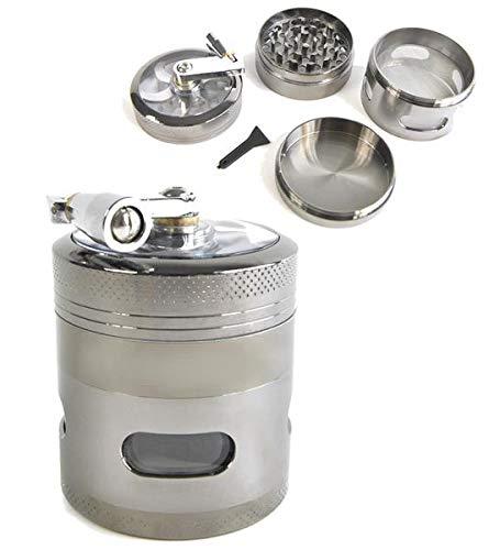 SweedZ Grinder per pedivelle antracite per tabacco, spice, erbe, spezie, autunno, caffè, 4 pezzi, 6,0 x 5,4 cm