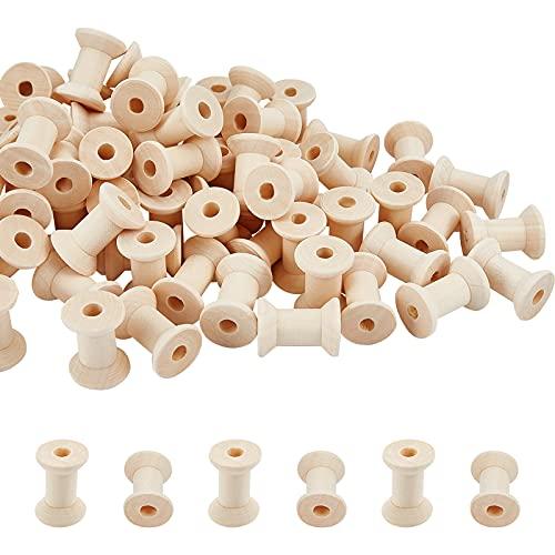 PandaHall 80 bobinas de madera para manualidades con hilo vacío, bobinas de hilo natural para manualidades, rollo de cordón, hilo de bordado y cinta de pompón, 2,9 x 2,2 cm