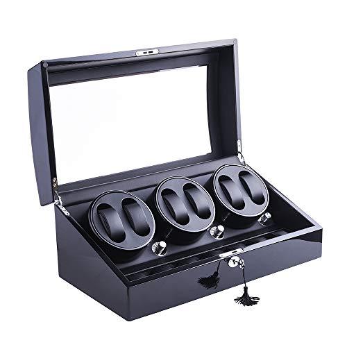 Uhrenbeweger,DUKWIN Automatische Uhrenbox/Kasten Watch Winder 6+7 Uhren Armbanduhr mit 4 Modi leiser Motor Rotieren ca.6-7mal/Min Rotations programmen
