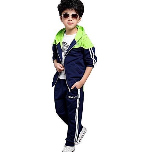 L PATTERN Tuta sportiva per bambini, 2 pezzi, tuta da Jogging con cappuccio + pantaloni Verde/Blu Scuro 8-9 Anni