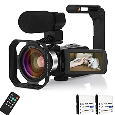 4K Video Camera Camcorder with Microphone Night Vision by KOMERY
