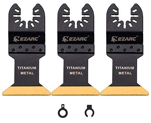 EZARC Titan Oszillierende Klinge Sägeblätter 3-tlg, Oszillierwerkzeug-Zubehör für Multifunktionswergzeug Schneiden von Holz, Nägeln, Metall, Kunststoff