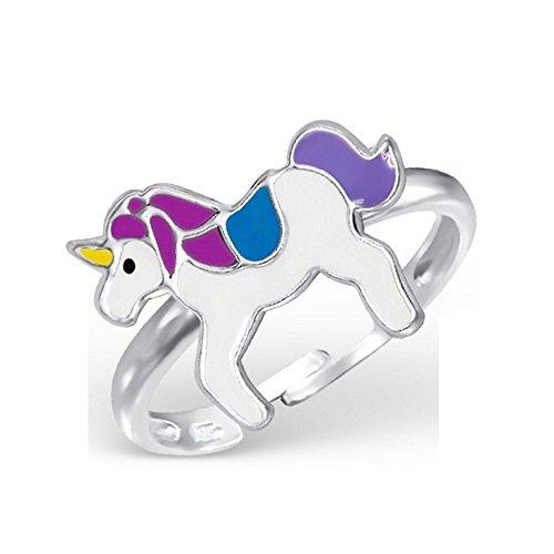 Bungsa Kinder-Ring Einhorn aus Sterling Silber 925 - Süßer Fingerring mit GEFLÜGELTEM Pferd für Kinder - 1 Silberner Ring größenverstellbar - Flexibel - Edler Kinderschmuck mit Pegasus