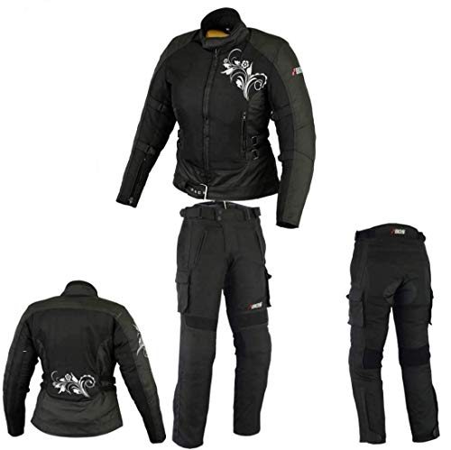 DAMEN MOTORRADKOMBI JACKE + HOSE - AUS TEXTIL /CORDURA für Motorrad Biker Chopper Cross (XL)
