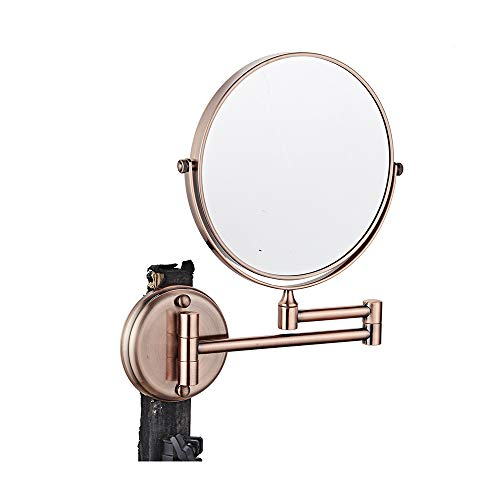 ZETA Wlh-Bathroom Vanity Collapsible Makeup Round Mirror Rose Gold 3X (6 IN)