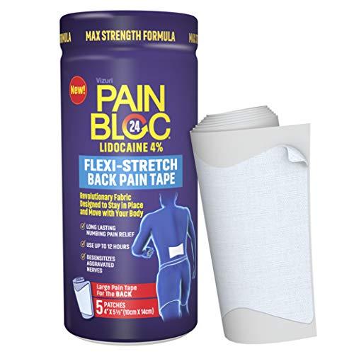 PainBloc24 Flexi-Stretch Back Pain Tape, Lidocaine 4% Large Pain Patch, OTC Maximum Strength Lidocaine Patches for Numbing Pain Relief for Back Pain, Shoulder Pain, 5 Large Patches
