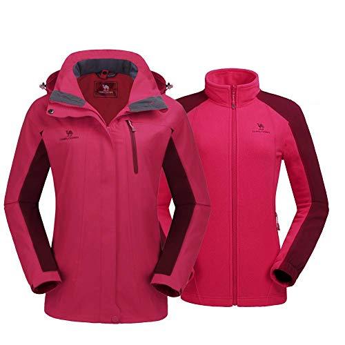 CAMEL CROWN Damen 3 in 1 Jacke mit Fleece Jacke Wasserdicht Winddicht Warm Winterjacke Doppeljacke Outdoor Regenjacke Funktionsjacke, Rot, XL