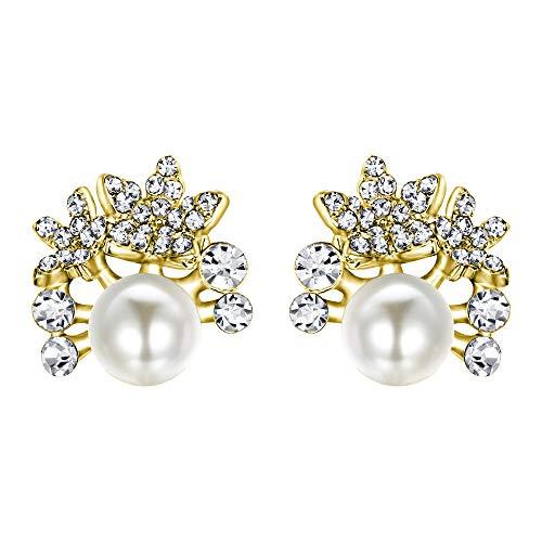 EVER FAITH Pendientes de cristal en crema con perlas de imitación y flores, color dorado claro
