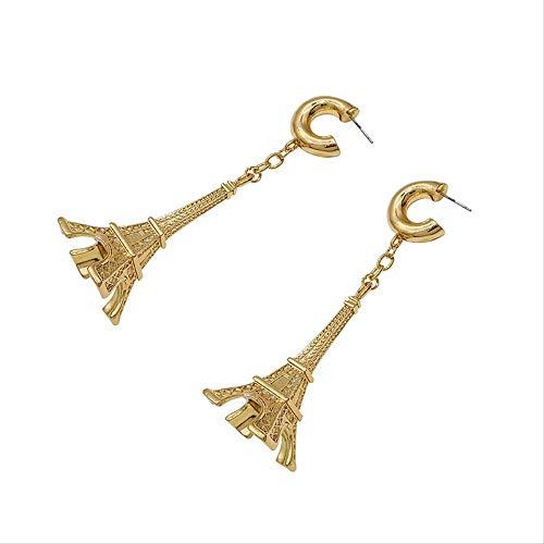 VTYILES Europäische Und Amerikanische Mode Persönlichkeit Eiffelturm Ohrringe Asymmetrische Ohrringe Weibliches Temperament Einfache Lange Anhänger Ohr