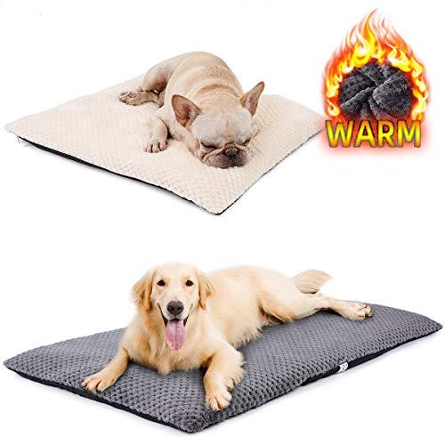 DogLemi Winter Plush Dog Bed Pad Instulation Warm Indoor Cat Pet Mat Thermal Cozy Cushion Water Mattress for Small Medium Large Dogs (24''x35''(60x90cm), Grey)