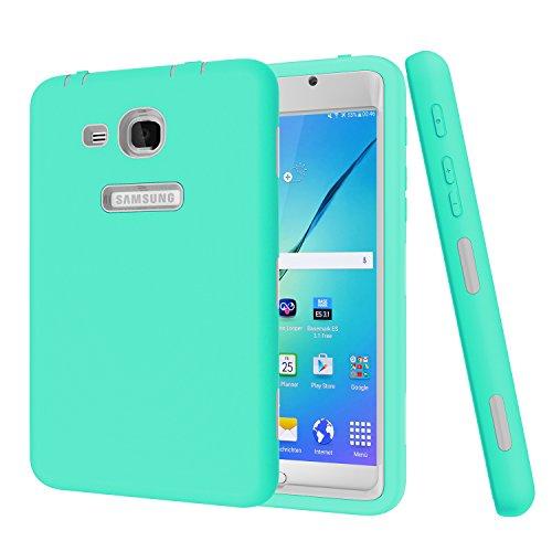 Jeccy - Carcasa Protectora para Samsung Galaxy Tab A 7.0 (con Protector de Pantalla, Carcasa híbrida Resistente a los Golpes, con función Atril, Carcasa de Silicona y plástico) Aqua+Gray