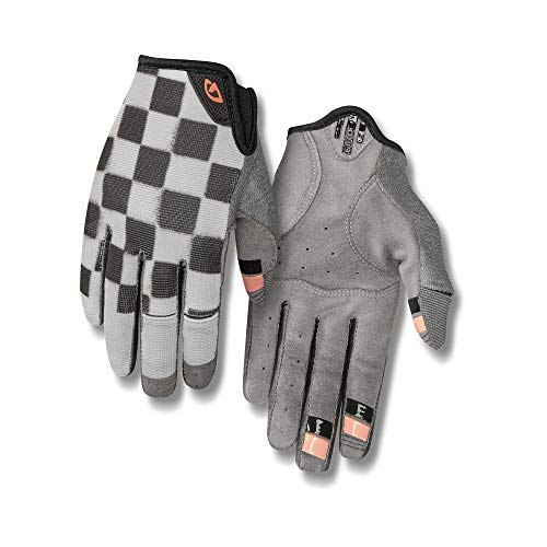 Giro La DND Women's Mountain Cycling Gloves - Checkered/Peach (2021), Medium