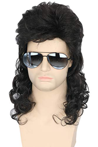 Topcosplay Men Wigs 80s Mullet Wig Black Curly Male Wig Halloween Costumes Punk Rocker Wig Long