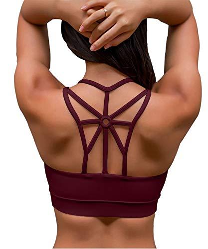 YIANNA Damen Sport BH Ohne Bügel Bequem Bustier mit Gepolstert Cup Atmungsaktiv Yoga Bra Top,UK-YA-BRA139-Red-XL