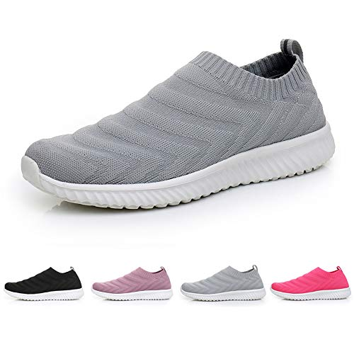 Rela Bota Walking Shoes for Women - Slip On Lightweight Comfort Casual Shoes Athletic Gym Easy Shoes (Grey, Numeric_6_Point_5)