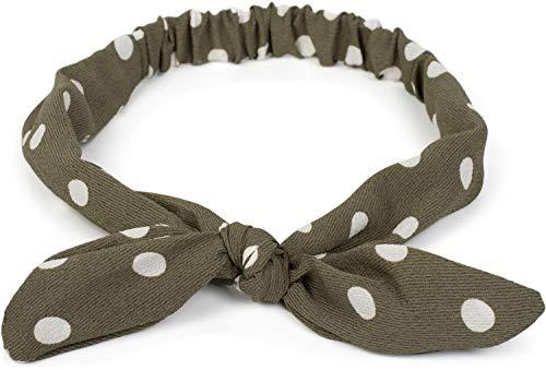 styleBREAKER Damen Haarband mit Polka Dots Punkte Muster, Schleife und Gummizug, Stirnband, Headband, Haarschmuck 04026021, Farbe:Oliv-Weiß