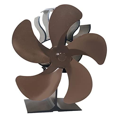 MERIGLARE Ventilador de Estufa Alimentado por Calor: Funcionamiento Silencioso 5 Aspas para Leña/Quemador de Leña/Chimenea: Distribución de Calor Eficiente - Bronce