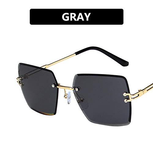 NJJX Gafas De Sol Cuadradas Sin Montura De Gran Tamaño Para Mujer, Gafas De Sol Con Montura Metálica A La Moda Para Mujer, Lentes De Gradiente Recortadas, Gris