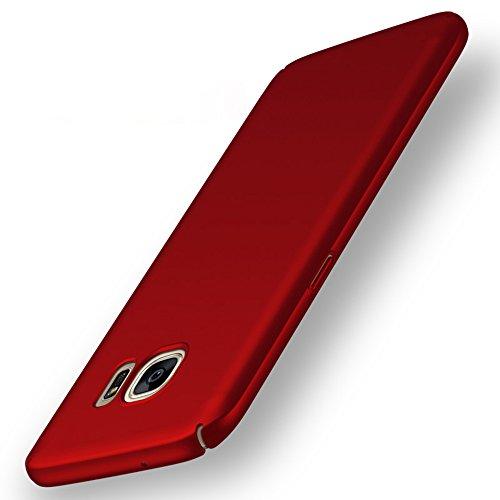 Anccer Cover Samsung Galaxy S7 [Serie Colorato] di Gomma Rigida Protezione Da Cadute e Urti per Samsung S7 (Non adatto per Samsung S7 Edge)-Rosso liscio